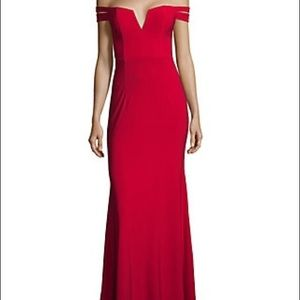 Xscape off the shoulder red gown